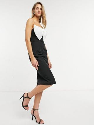 WOMEN Lusso the Label exclusive bandeau midi dress with tuxedo bow in black