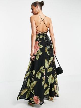 WOMEN cami wrap maxi dress with lace up back in large floral print
