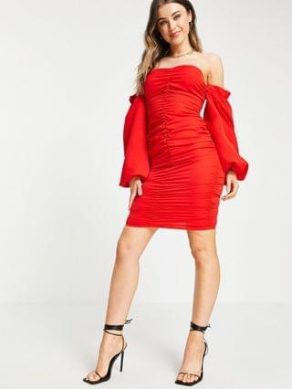 WOMEN In The Style x Jac Jossa ruched off shoulder mini dress in red