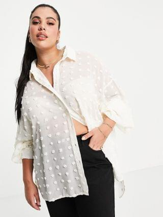 WOMEN Glamorous Curve relaxed shirt in textured semi sheer fabric