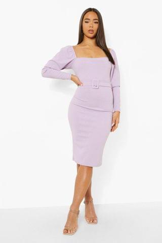 WOMEN Square Neck Puff Sleeve Belted Midi Dress