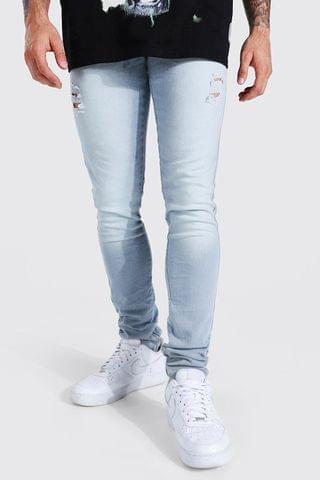 MEN Skinny Stretch Stacked Distressed Jean