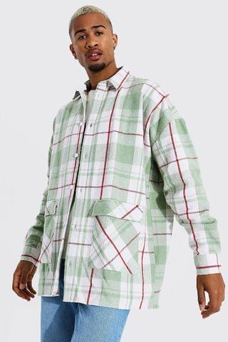 MEN Oversized Check Overshirt With Pocket Detail