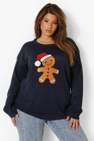 WOMEN Plus Christmas Gingerbread Knitted Jumper