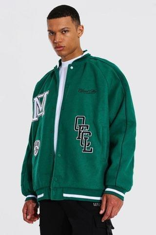 MEN Tall Roll Collar Varsity Jacket With Piping