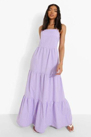 WOMEN Tall Gingham Check Tiered Smock Maxi Dress