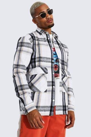 MEN Check Overshirt With Pocket Detail