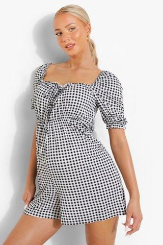 WOMEN Maternity Square Neck Gingham Playsuit