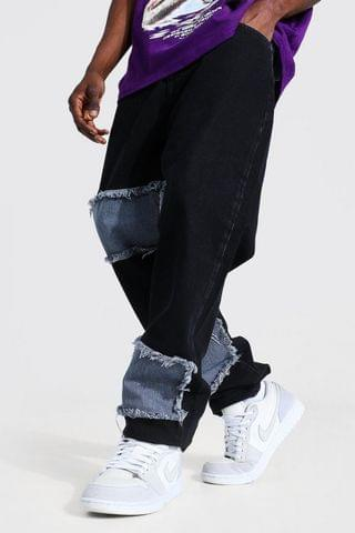 MEN Relaxed Fit Patchwork DIY Jean