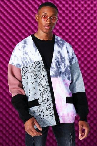 MEN Oversized Patchwork Knitted Cardigan
