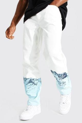 MEN Relaxed Fit Aop Ice Mountain Print Jean