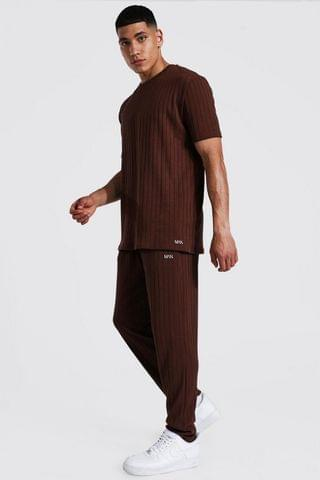 MEN Stripe Knitted T-shirt And Jogger Set