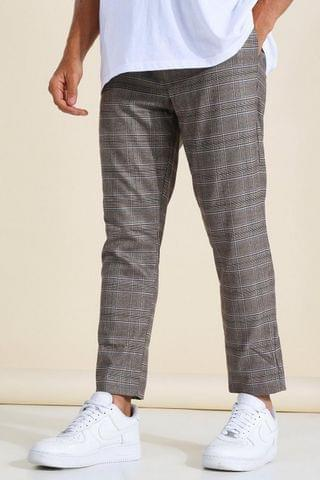 MEN Tapered Brown Check Jogger Trouser