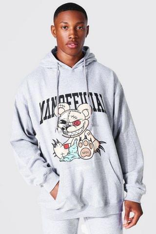 MEN Oversized Man Official Teddy Graphic Hoodie