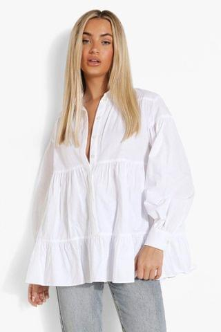 WOMEN Tiered Cotton Polin Smock Style Shirt