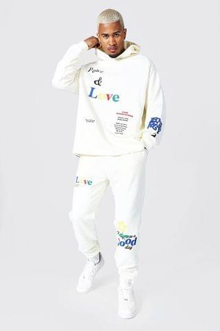 MEN Oversized Peace and Love Hoodie Tracksuit