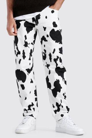 MEN Relaxed Fit Cow Bleached Jean
