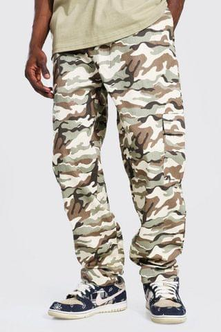 MEN Relaxed Fit Printed Twill Cargo Trouser