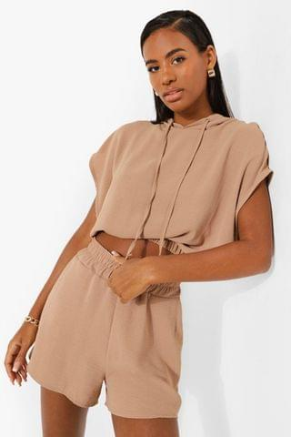 WOMEN Woven Cropped Casual Co-ord