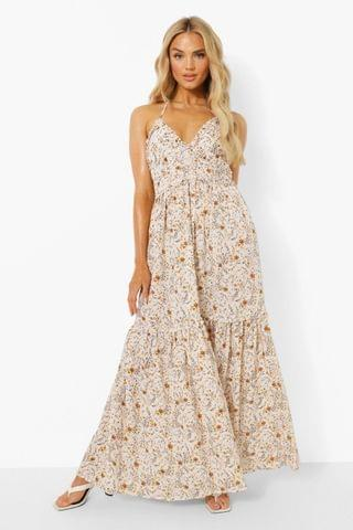 WOMEN Ditsy Floral Plunge Ruffle Tiered Maxi Dress