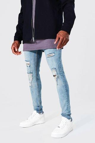 MEN Super Skinny Jean With All Over Rips