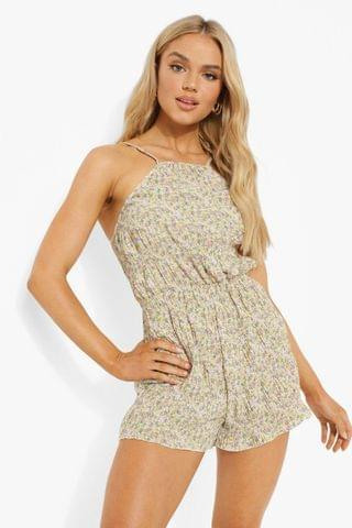 WOMEN Floral Shirred Strappy Playsuit