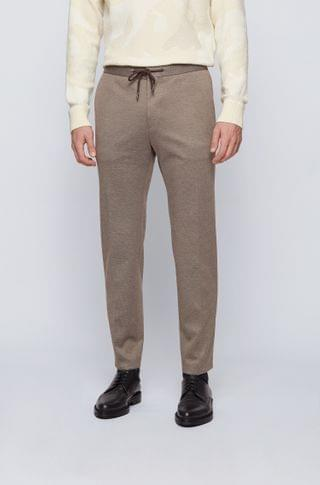 MEN Slim-fit pants in micro-patterned stretch fabric