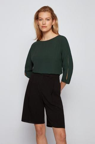 WOMEN Crinkle-crepe top with cropped sleeves