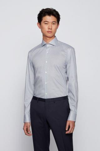 MEN Micro-patterned slim-fit shirt with Cool Comfort finish