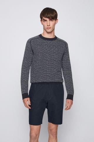 MEN Cotton-blend sweater with two-tone jacquard-woven pattern