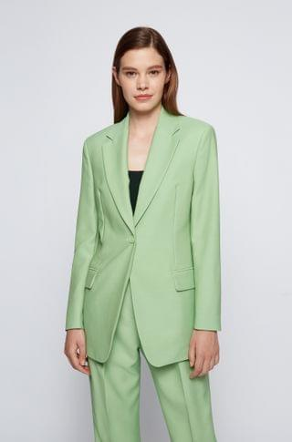 WOMEN Single-breasted jacket with solid weave
