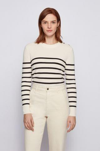 WOMEN Button-detail striped sweater in organic cotton with silk