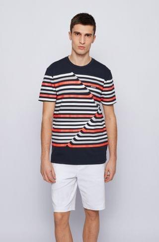 MEN Stretch-cotton crew-neck T-shirt with abstract stripes