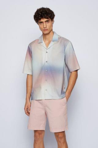 MEN Regular-fit shirt in stretch cotton with gradient print
