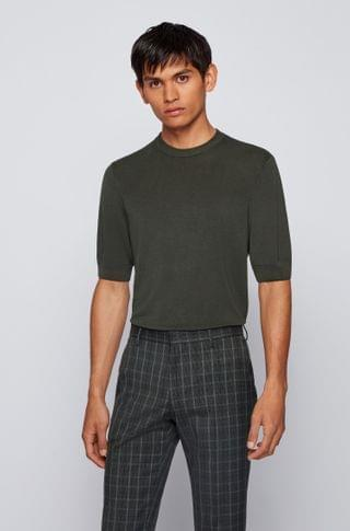 MEN Short-sleeved sweater with mixed structures