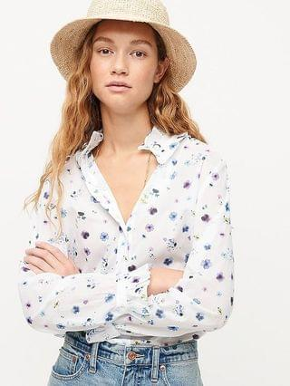 WOMEN Classic-fit ruffleneck shirt in airy floral