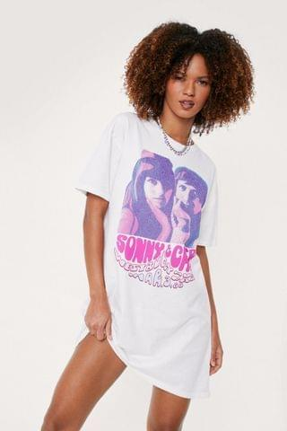 WOMEN Sonny and Cher Graphic T-Shirt Dress