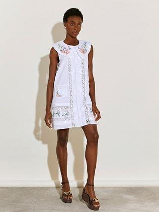 WOMEN White collared embroidered dress