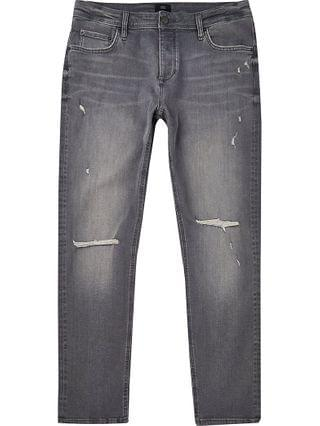 MEN Grey ripped slim fit jeans