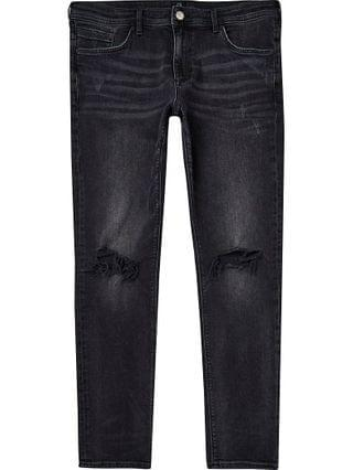 MEN Black washed ripped skinny fit jeans