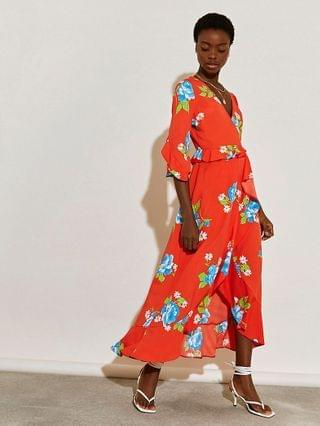 WOMEN Red floral printed wrap frill dress