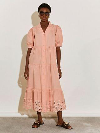 WOMEN Coral short sleeve tiered maxi dress