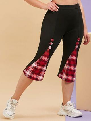 WOMEN Plus Size Plaid Godet Covered Button Cropped Leggings