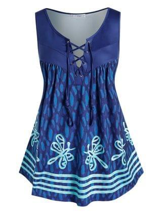 WOMEN Plus Size Butterfly Print Lace Up Tent Tank Top