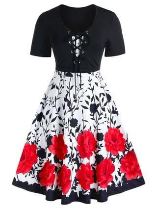 WOMEN Plus Size Lace Up Cropped T Shirt and Floral Cami Dress Set