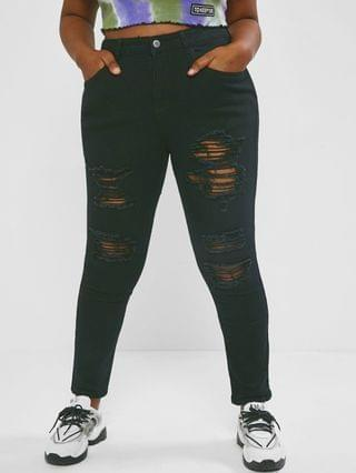 WOMEN Plus Size Skinny-fit Ripped Jeans