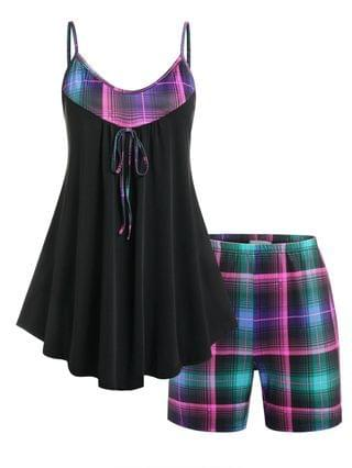 WOMEN Plus Size Plaid Skirted PJ Cami Top and Shorts Set