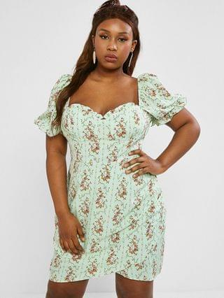WOMEN Plus Size Frilled Floral Puff Sleeve Ruched Bustier Dress