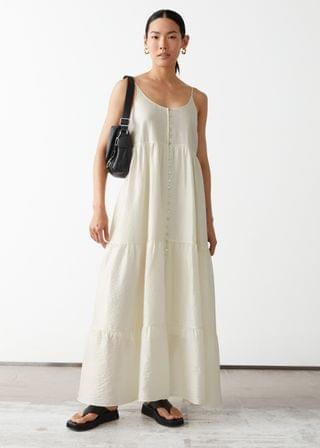 WOMEN Strappy Buttoned Maxi Dress
