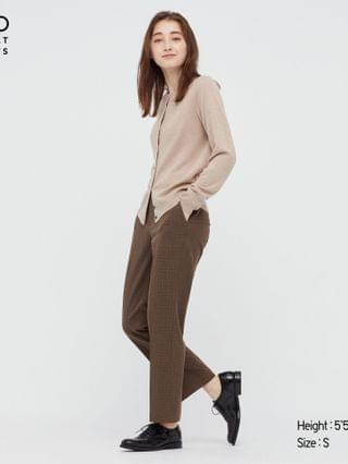 WOMEN smart 2-way stretch glen checked ankle-length pants